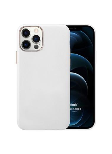 Microsonic Apple iPhone 12 Pro Kılıf Luxury Leather Beyaz
